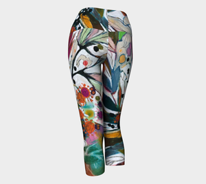 "NEW!!!   ""Two White Lilies Botanical"" Capri  Leggings"