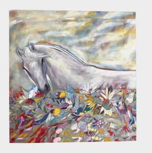"ANIMAL LOVERS COLLECTION ""White Spirit Horse Botanical"" 36x36 Inch Chiffon Wild Rag Scarf"