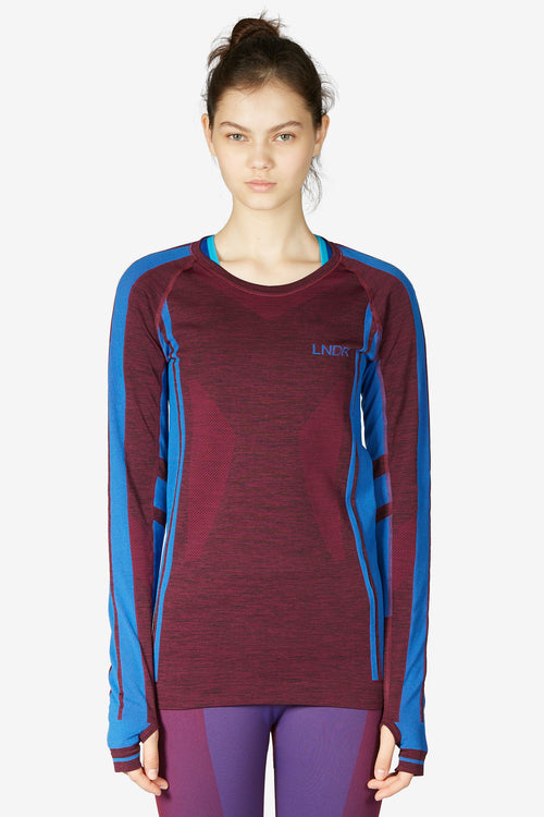 Colours Long Sleeve Top - Burgundy Marl