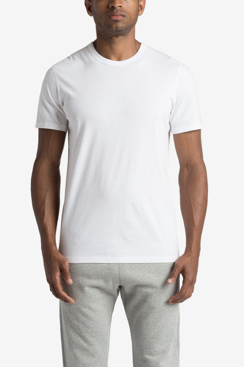 Men's Knit Cotton Jersey Short Sleeve Crew Neck - WHITE