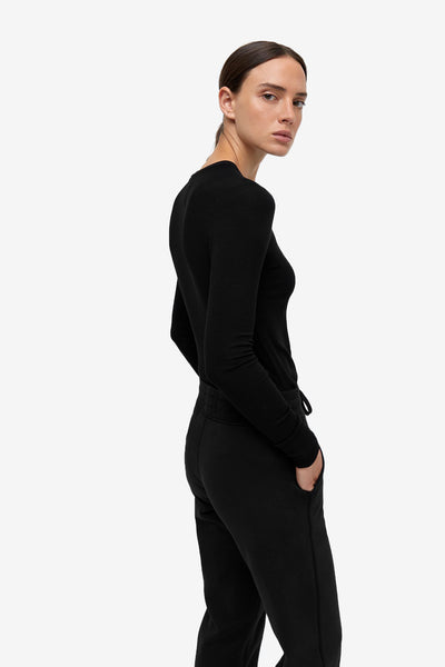 Modal Ribbed Long Sleeve T-Shirt - Black