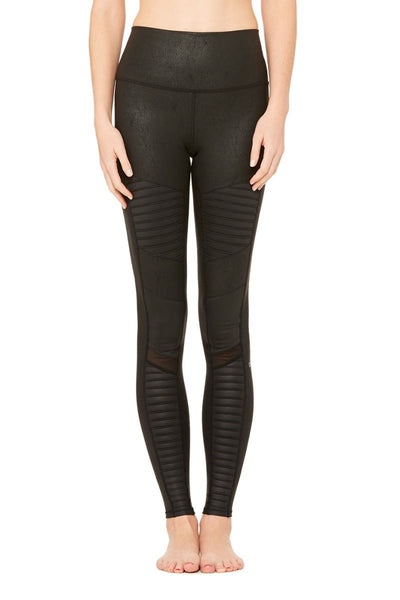 High-Waist Moto Legging - Black Performance Leather/BlkG
