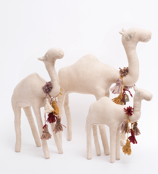 Family Of 3 Camels with Wool tassels