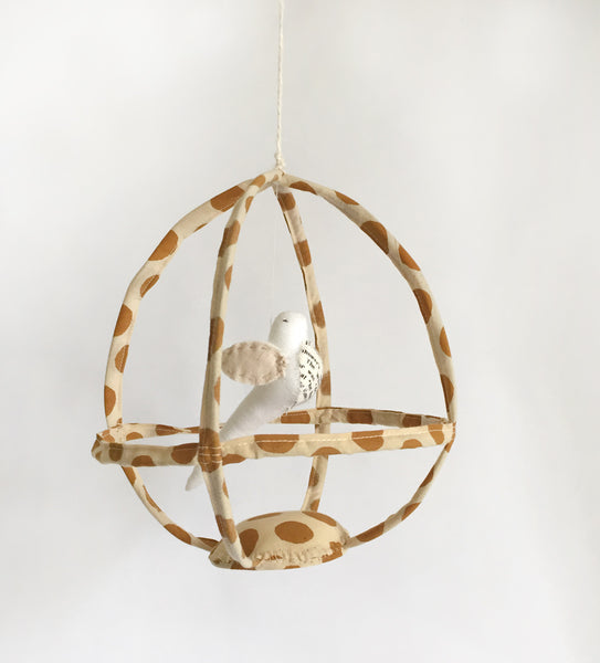 Brown dots Bird cage with white or Black bird