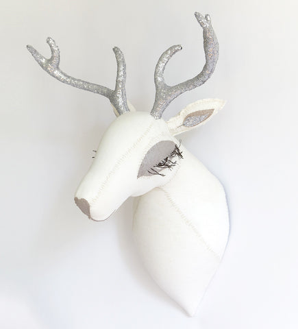 Deer Head: White with Silver Antlers