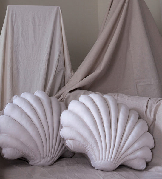 Large Shell Pillows in Linen