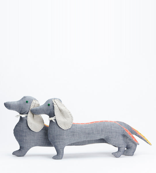 Denim Dachshund Pillow