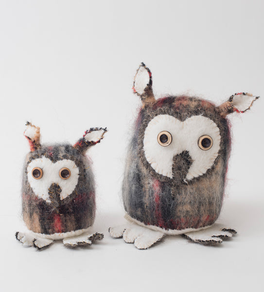 Owls in naturals & red tartan mohair