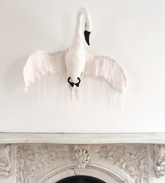 Wall mounted Swan in Tea dye