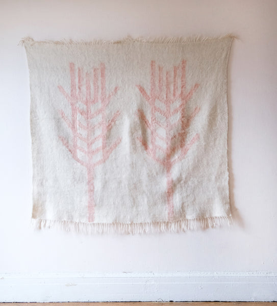 Copy of 'WHEAT' Hand woven Wool Blanket in White and pale pink