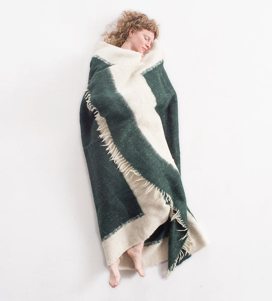 Hand woven Wool Blanket, Hunter green