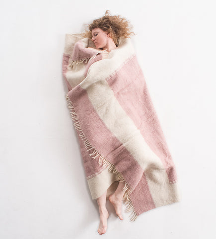 Hand woven Wool Blanket, pale pink
