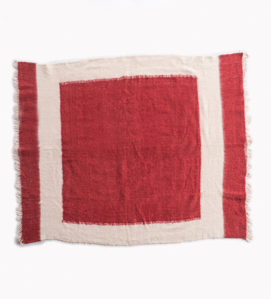 Hand woven Wool Blanket, Red