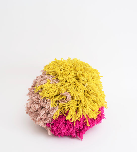 Pompom Pouf, Pinks & Yellow