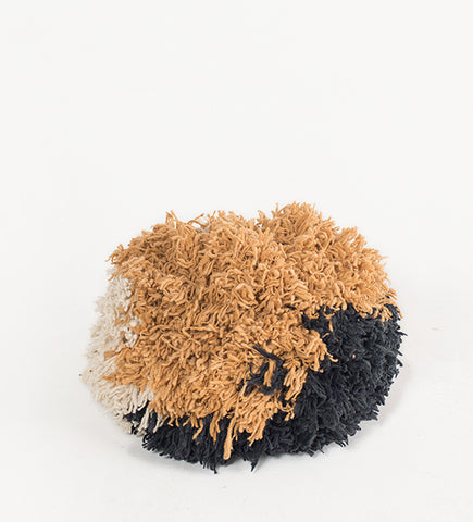 Pompom Pouf, Naturals and charcoal