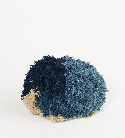 Pompom Pouf, Blues & Natural