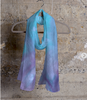 Blue & pink ,Cashmere Silk Scarf in stock