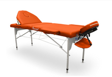 Load image into Gallery viewer, Portable Aluminium Folding Massage Table with Reclining Backrest - Transport Bag Included - Pro Range (186cm x 66cm)