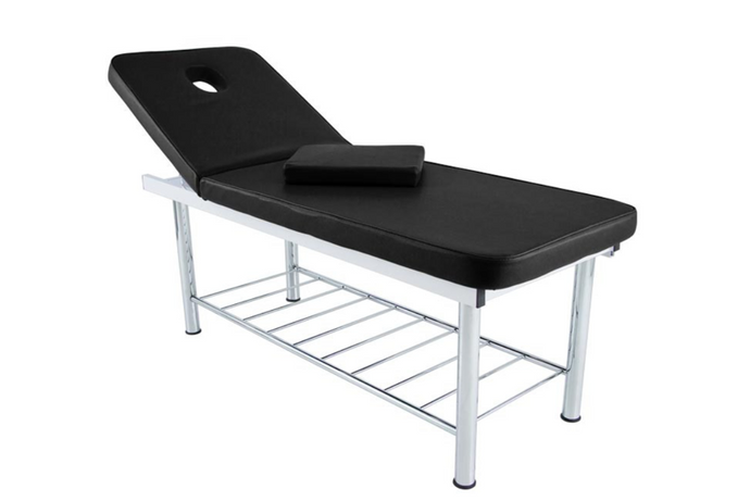Fixed Reclining Steel Treatment Table - Black