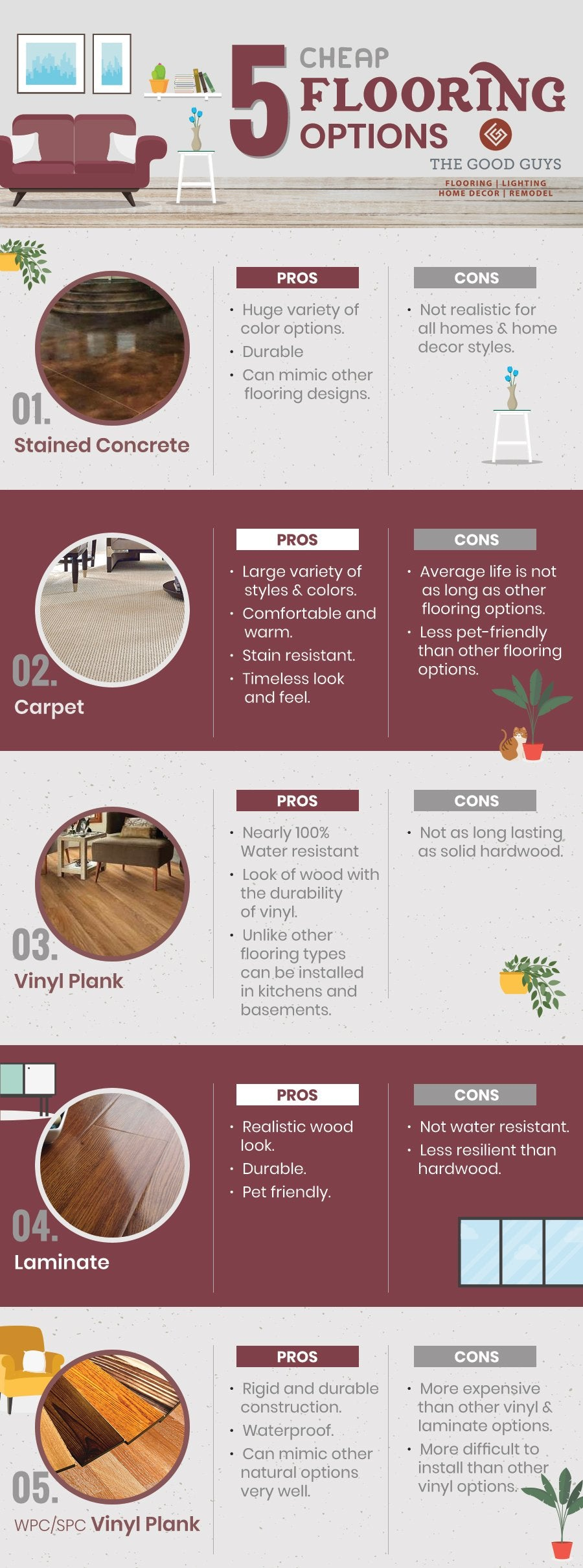 Top 5 Cheap Flooring Options Infographic