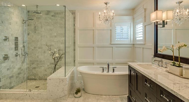 Bathroom Update with Walk-In Shower, Garden Tub and New Cabinets