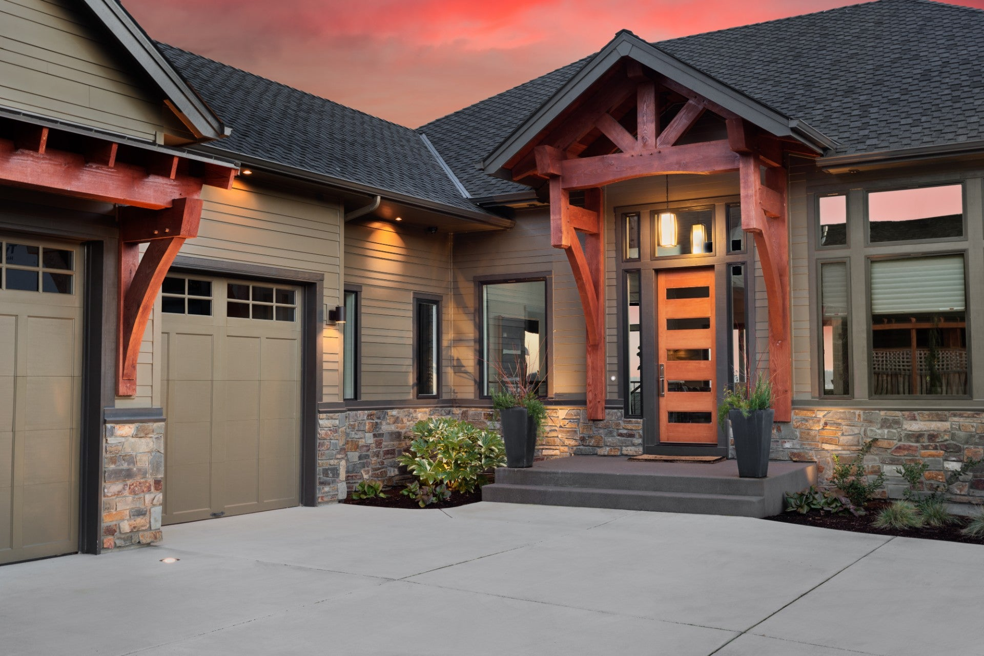 Craftsman Home with Wooden Build-Outs, Gray Roof - Roof and Gutter Replacement