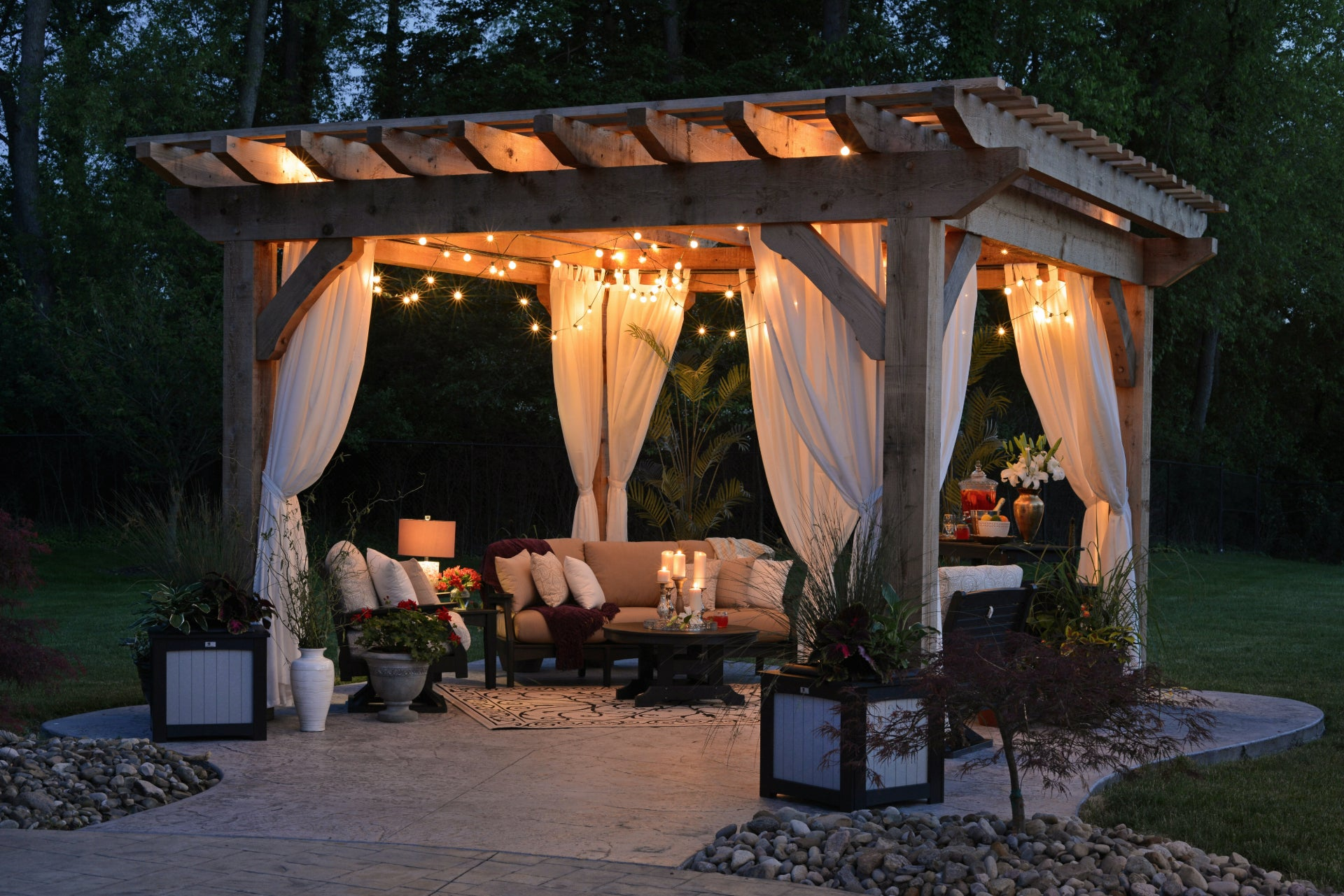 Backyard Getaway Pergola with Curtains and Fairy Lights