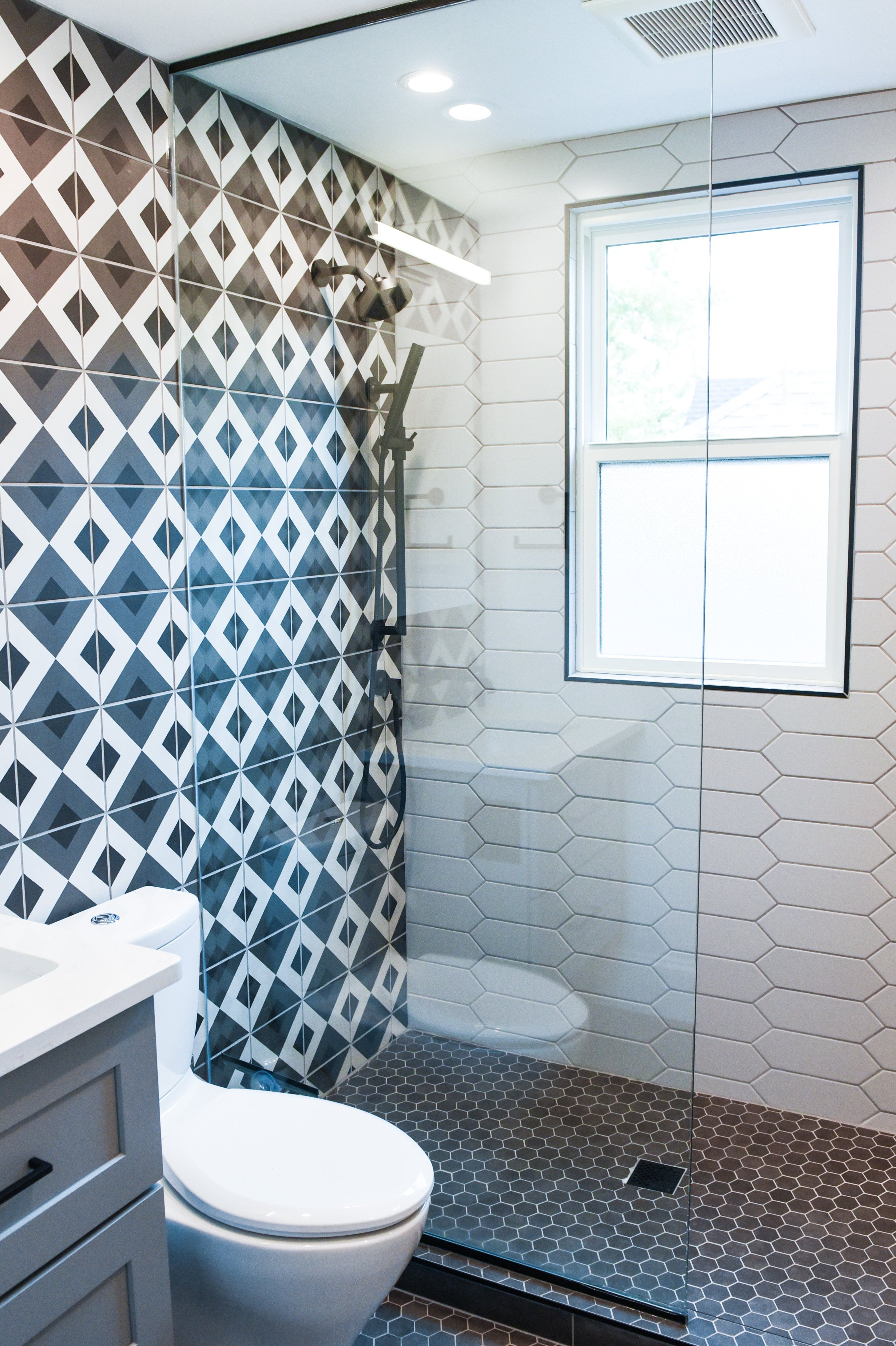Funky Bathroom with Patterned Tile