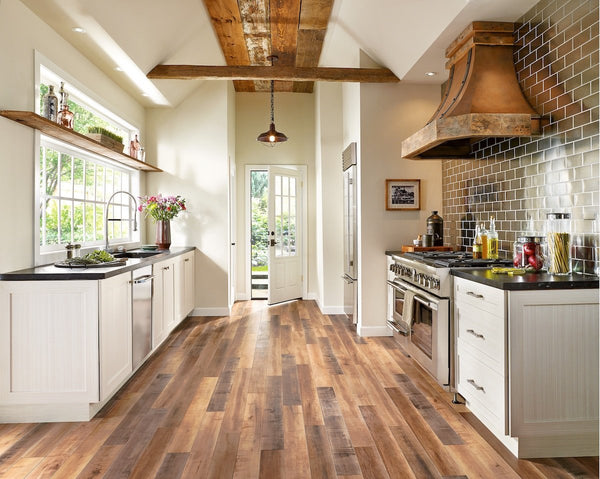 Brown Wood-Look Laminate Flooring in Kitchen