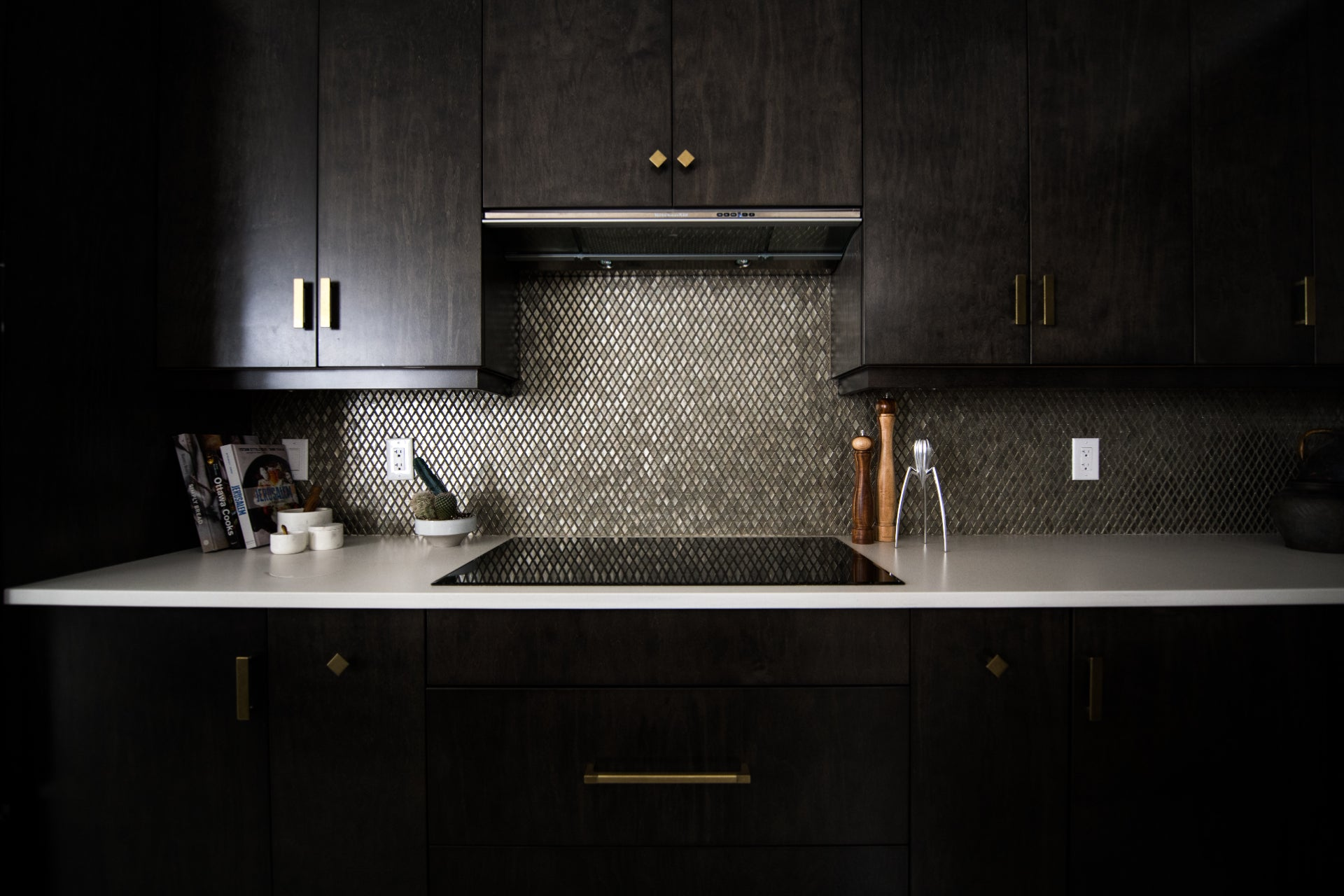 Moody Kitchen with Black and Gold Accents