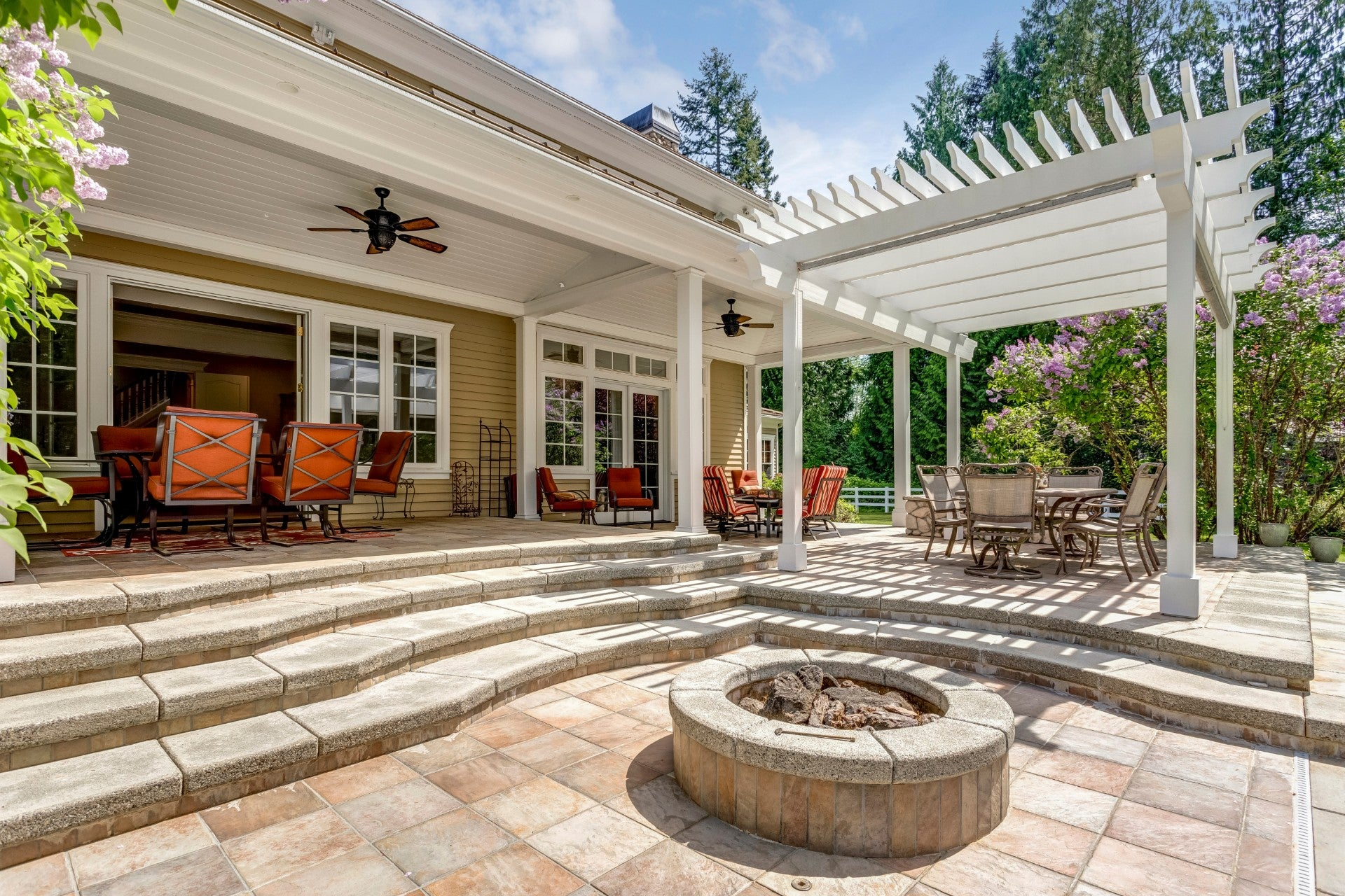 Fire Pit and Pergola in an Outdoor Living Area