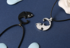 Black and white cat couples necklaces