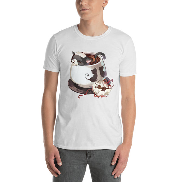 Men's cat in coffee bath t-shirt