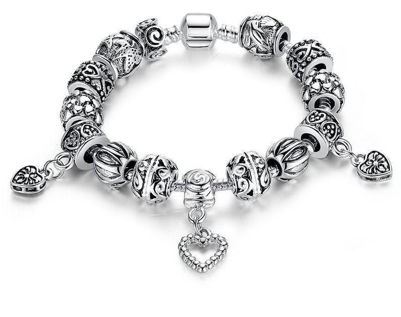 Antique Silver Charm Bracelet With Heart Pendant