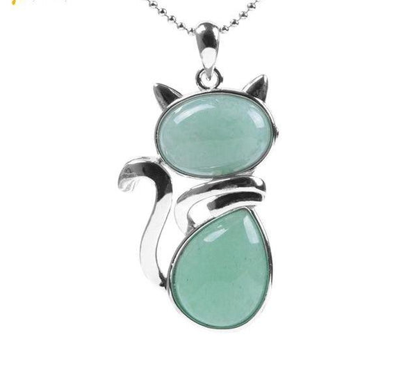 Natural birthstone Cute Cat Shape Pendant