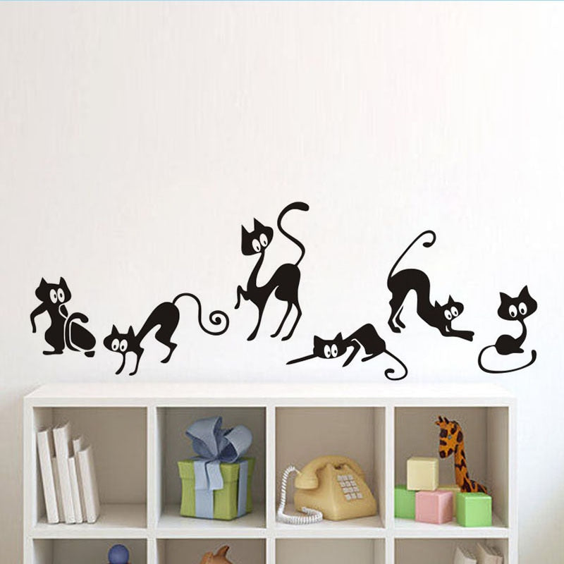 Lovely 6 Black Cute Cats Wall Sticker