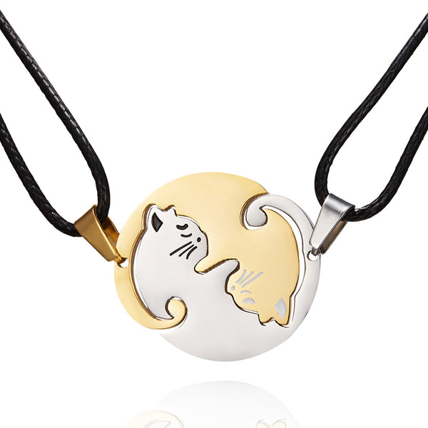 NEW COLOR! Gold/Silver cat couples necklace