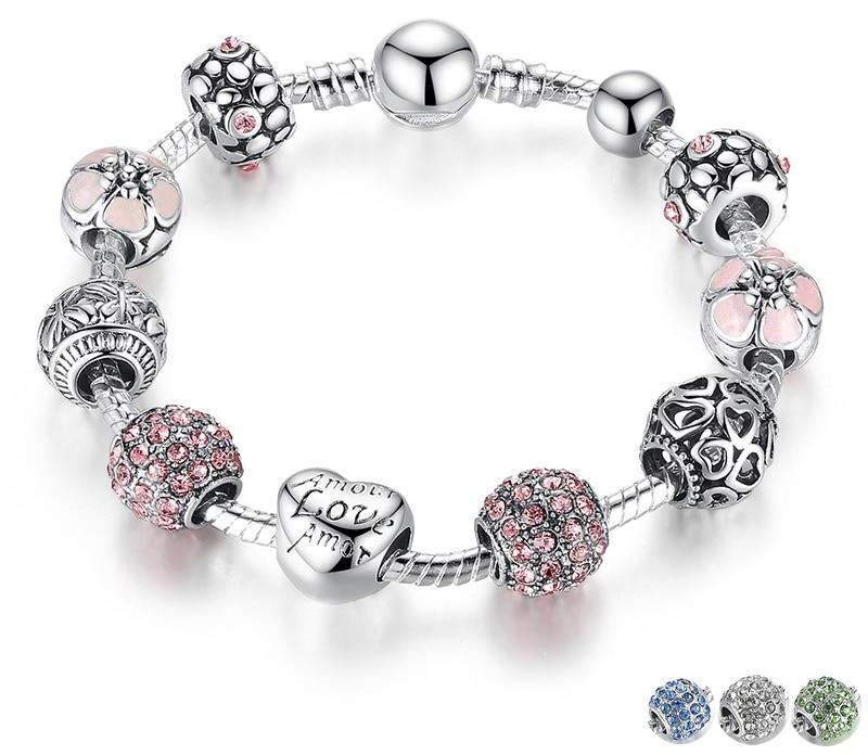 Silver Charm Bracelet with Love and Flower Beads