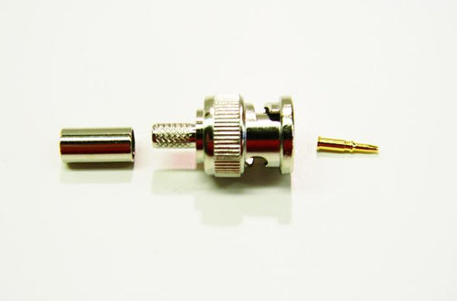 Datcom Realm BNC male crimp connector for RG58 cable.