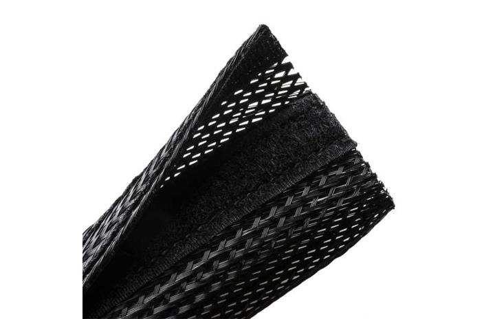Techflex 2 inch diameter black hook and loop closure sleeving.