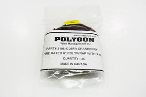 Polygon 3108-X-25-FR 8 inch cranberry plenum Velcro cable tie