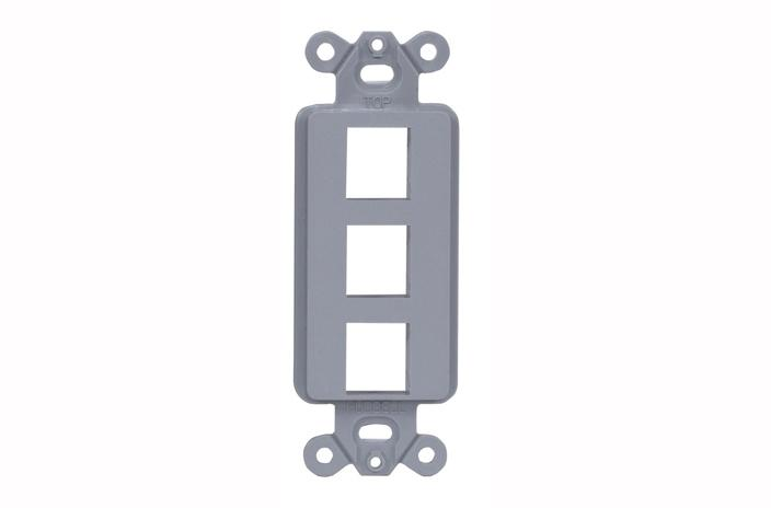 Hubbell ISF3GY 3 port keystone decorator faceplate grey