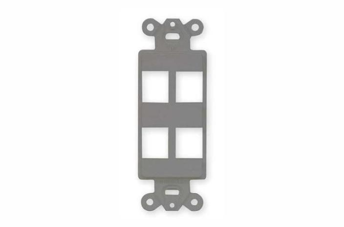 Hubbell ISF4GY 4 port keystone decorator faceplate grey
