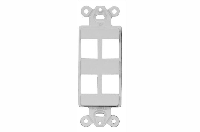 Hubbell ISF4OW 4 port keystone decorator faceplate office white