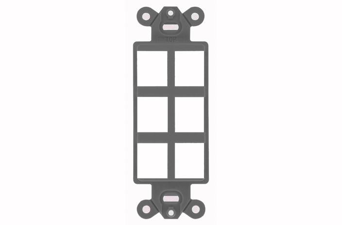 Hubbell ISF6GY 6 port keystone decorator faceplate grey