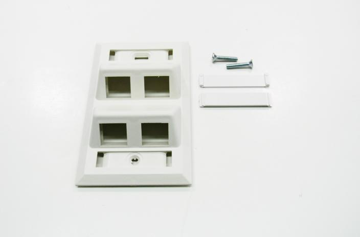 Hubbell AFP14W 4 port keystone wall mount angled faceplate white