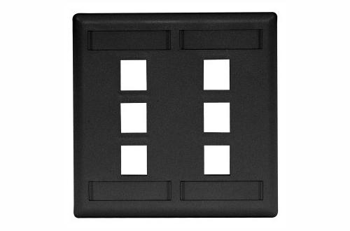 Hubbell IFP26BK 6 port keystone wall mount faceplate black