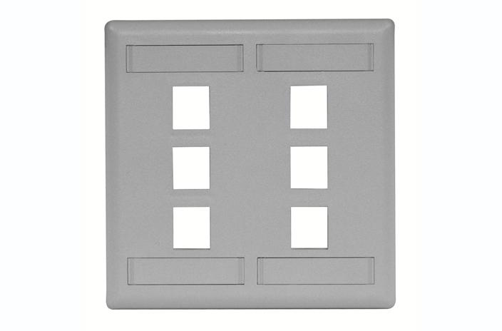 Hubbell IFP26GY 6 port keystone wall mount faceplate grey