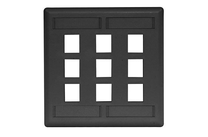 Hubbell IFP29BK 9 port keystone wall mount faceplate black