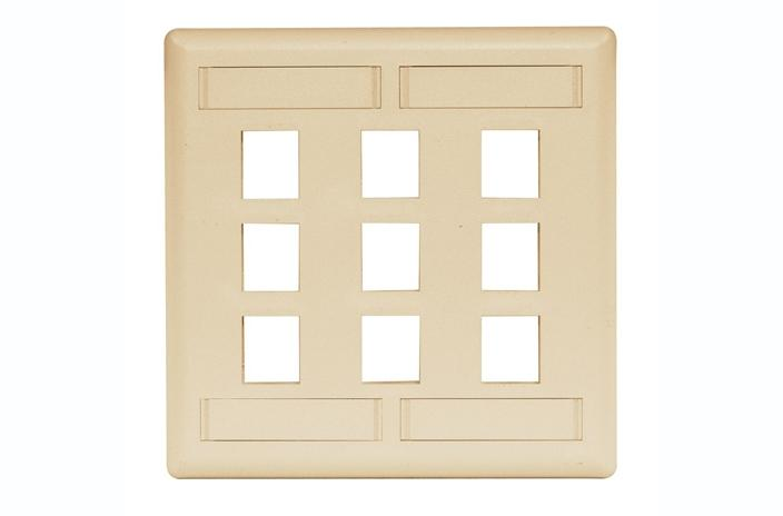 Hubbell IFP29EI 9 port keystone wall mount faceplate electric ivory